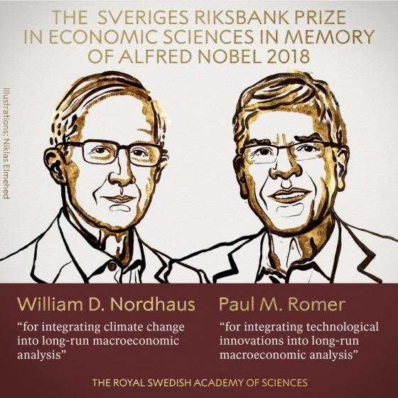 2018년 노벨경제학상 수상자들. 윌리엄 노드하우스 예일대 교수(왼쪽)와 폴 로머 뉴욕대 교수./사진=노벨위원회 트위터