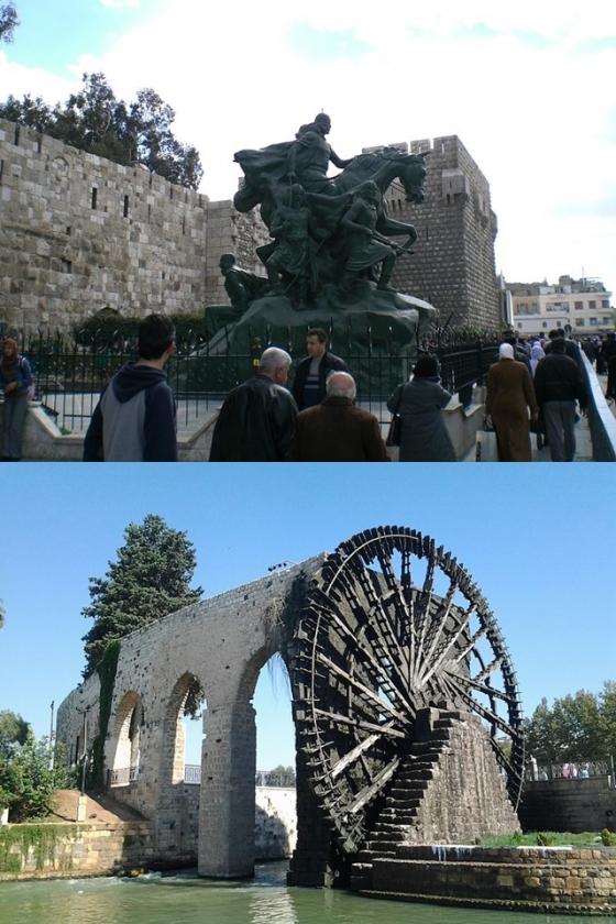 (위)다마스쿠스 광장의 살라딘 동상, (아래)하마의 수차 /사진=위키커먼스