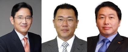 왼쪽부터 이재용 삼성전자 부회장, 정의선 현대차그룹 수석부회장, 최태원 SK그룹 회장