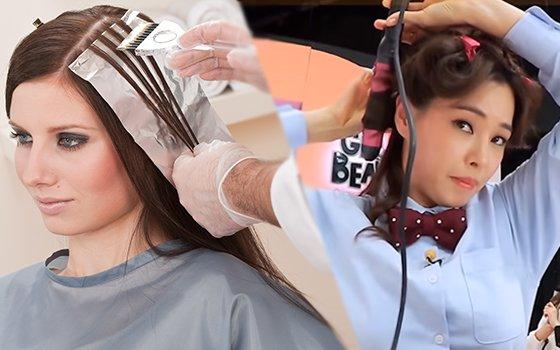 미용실에서 파마를 하는 모습(왼쪽)과 배우 이하늬가 방송에서 고데기로 머리를 손질하는 모습 /사진=이미지투데이, 온스타일 '겟잇뷰티'
