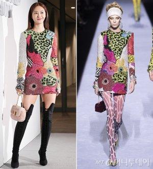 유리 vs 모델, 반짝이 비즈 드레스…