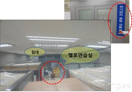 첼로연습실로 운용되고 있는 국무총리실 위기관리 종합상황실 /사진=김중로 의원실