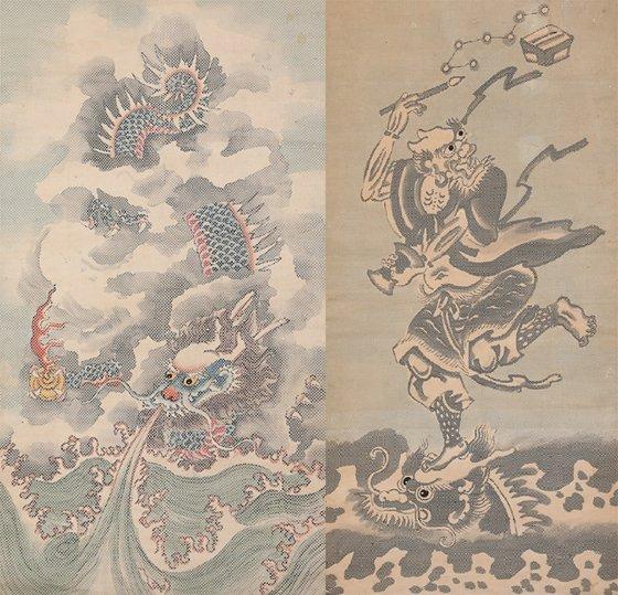 조선시대 지직화. (왼쪽부터)운용도(18세기 96.2x52.2㎝), 북두칠성도(18세기 101.3 x 46.8㎝)./사진제공=한국고미술협회