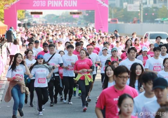 [사진]'유방건강 의식향상' 2018 핑크런 서울 대회 개최