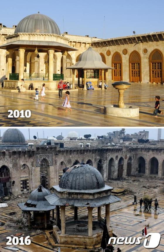 """일간 인디펜던트 등 외신은 2016년12월15일(현지시간) 2010년의 알레포와 2016년의 알레포를 비교했다. 매체는 """"화려하고 깨끗한 2010년 알레포의 모습이 현재와 비교돼 더욱 슬퍼보인다""""고 보도했다./사진=뉴스1"""