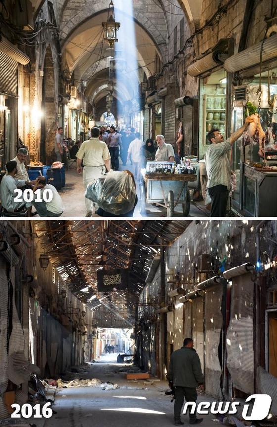 시리아 알레포 올드시티에 위치한 한 시장의 전후 모습이다. 2010년 주민들과 상인들로 활기찼던 시장이 2016년 폐허로 변했다./사진=뉴스1
