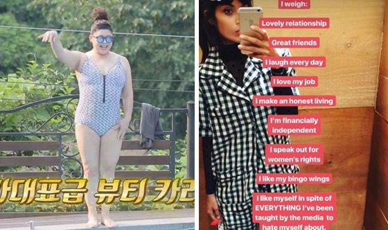 한 예능프로그램에서 수영복을 착용한 방송인 이영자의 모습(왼쪽)과 모델 겸 방송인 자밀라 자밀이 자신의 SNS 계정에 올린 게시물. /사진=올리브 '밥블레스유', 자밀라 자밀 인스타그램 캡처