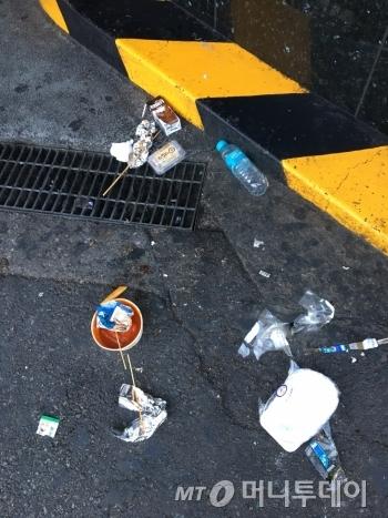 길 한쪽에 버려진 쓰레기들. 누군가 먹다 남긴 떡볶이 국물, 물통, 꼬치 막대기 등이 질서 없이 놓여 있었다./사진=남형도 기자