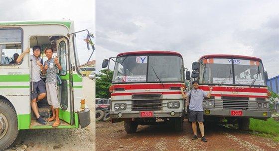 이종원씨가 미얀마에서 만난 현대 86년식 RB520L 버스(왼쪽)와 한국으로 들여온 81년식 새한대우 BF101, 84년식 현대 FB485 버스 /사진=이종원씨 제공