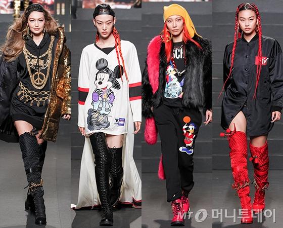 H&M x 모스키노 콜라보레이션 컬렉션 쇼에 오른 모델 지지 하디드, 최소라, 수주, 정호연/사진제공=H&M