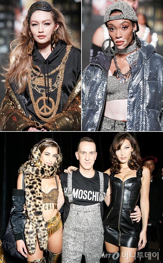 왼쪽부터 시계 방향으로 모델 지지 하디드, 위니 할로우, 모델 벨라 하디드, 크리에이티브 디렉터 제레미 스캇, 테일러 힐/사진제공=H&amp;M<br />