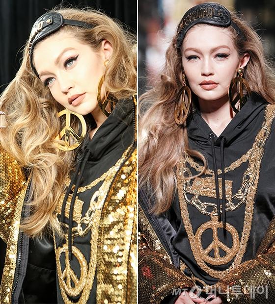 H&M x 모스키노 콜라보레이션 패션쇼이 오프닝을 맡은 모델 지지 하디드/사진제공=H&M
