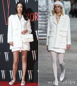 이연희 vs 모델, 화사한 트위드 패션…