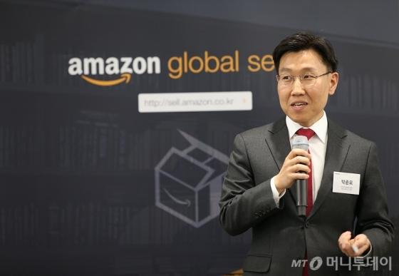 아마존글로벌셀링 박준모 대표가 6일 한국셀러들에대한 입점지원전략을 밝히고 있다. /사진=아마존글로벌셀링