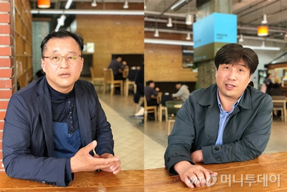 인터뷰 중인 김용일 세눈컴퍼니 대표(좌)와 강경환 영화제작소 눈 대표(우)/사진=신재은 에디터
