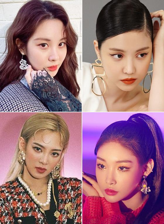 왼쪽부터 시계 방향으로 그룹 소녀시대 서현, 에이핑크 손나은, 가수 청하, 소녀시대 효연/사진=서현 인스타그램, 보그, SM타운 인스타그램