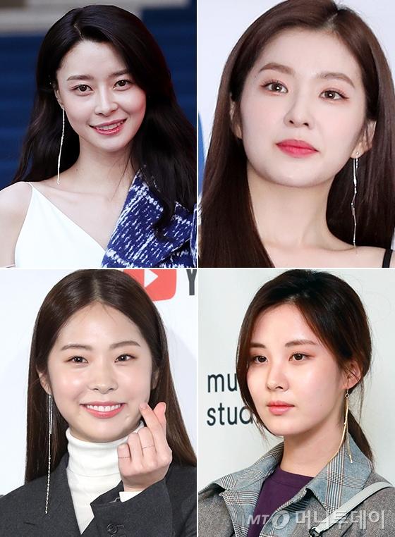 왼쪽부터 시계방향으로 그룹 헬로비너스 나라, 레드벨벳 아이린, 소녀시대 서현, 배우 서은수/사진=머니투데이 DB