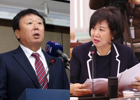 선동열 야구 국가대표팀 감독(왼쪽)과 손혜원 더불어민주당 의원./사진=뉴스1