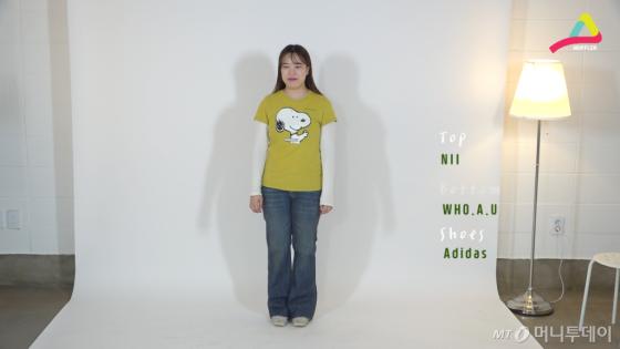 '레이어드'의 존재감이 살아있는 또 다른 레이어드 룩. 스누피 캐릭터가 박힌  NII(니) 티셔츠로 연출해 봄.