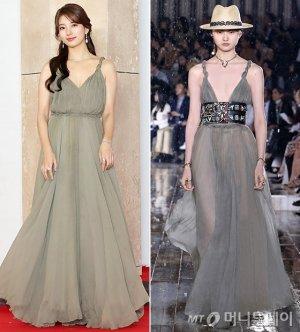 수지 vs 모델, 같은 드레스 다른 느낌…