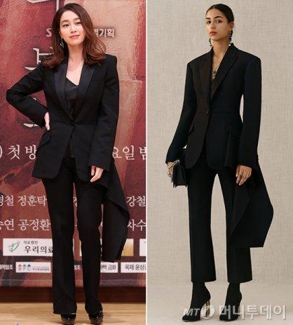 이민정 vs 모델, 꼬리 달린 슈트 패션…세련미 '물씬'