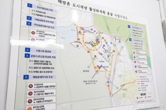 국토부와 서울시가 해방촌 도시 재생을 위해 오는 2020년까지 진행하는 8개 마중물 사업들. 총 사업비 100억 원 규모로 이 가운데 '공방·니트산업 특성화 지원' 사업이 포함돼 있다.