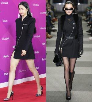 손나은 vs 모델, 아찔한 지퍼 드레스…