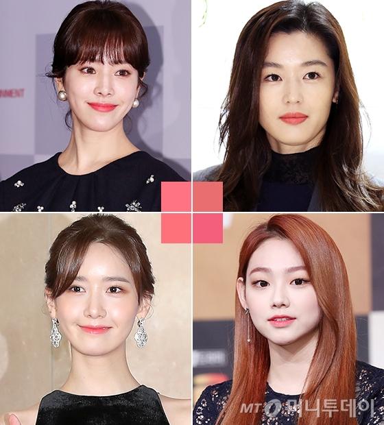 왼쪽부터 시계방향으로 배우 한지민, 전지현, 그룹 구구단 미나, 소녀시대 윤아/사진=머니투데이 DB