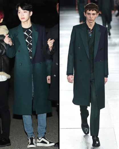 """라이관린 vs 모델, 세련된 롱코트 패션…""""캐주얼하게"""""""