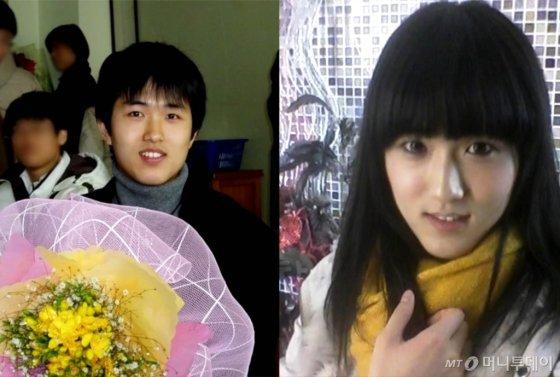고등학교 졸업식에서 찍은 파니씨의 사진(왼쪽), 오른쪽은 24세 시절의 파니씨(32·본명 오희나). /사진제공=파니씨