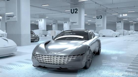 현대·기아자동차가 28일 스스로 발렛파킹(주차)을 하고 전기 충전까지 하는 스마트 자율주차 콘셉트 관련 3D 그래픽 영상을 공개했다./사진제공=현대·기아차