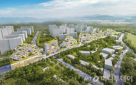 서울 중랑구 북부간선도로(신내IC~중랑IC) 위에 짓는 공공주택 조감도/사진제공=서울시