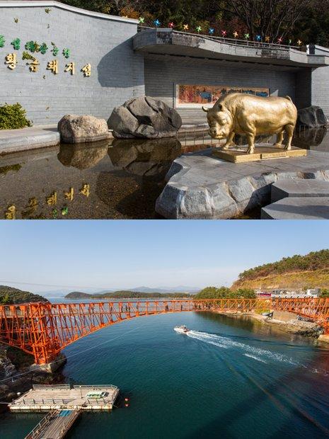 (위부터)돝섬의 상징인 황금돼지 동상. 저도로 들어가는 스카이워크./사진제공=한국관광공사