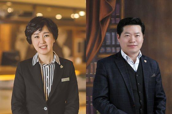 (왼쪽부터)허진영 코오롱호텔 총지배인, 김영태 코오롱 씨클라우드 호텔 총지배인./사진제공=코오롱엘에스아이