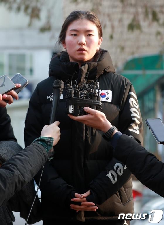 조재범 전 코치를 성폭행으로 고소한 심석희. /사진=뉴스1<br /> <br />