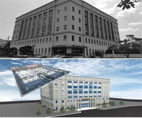 지난해 공공 그린리모델링 지원사업으로 선정된 전남 광양시 의회청사 현재 모습(위)과 그린리모델링 사업후 예상도(아래). /사진제공=국토교통부
