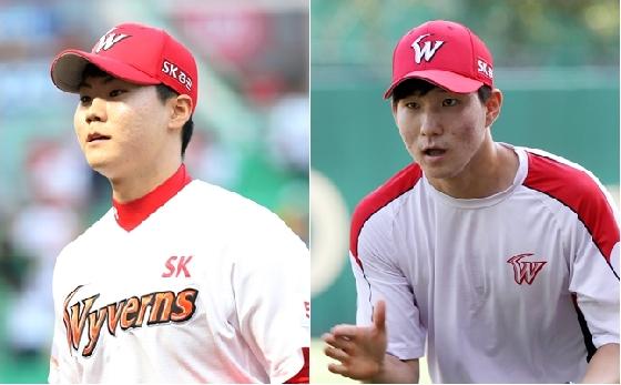 정동윤(왼쪽), 박성한.  /사진=SK 와이번스 제공