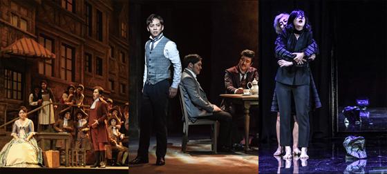 (왼쪽부터)오페라 '베르테르', 뮤지컬 '베니스의 상인', 연극 '함익'./사진제공=세종문화회관<br />