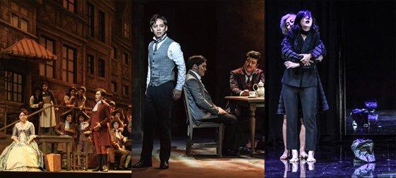 (왼쪽부터)오페라 '베르테르', 뮤지컬 '베니스의 상인', 연극 '함익'./사진제공=세종문화회관<br>