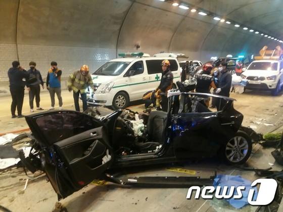 [사진] 광주1터널에서 5중 추돌사고