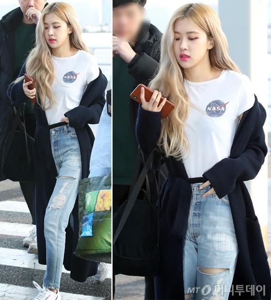 """블랙핑크 로제, 티셔츠+청바지 매치…""""감각적인 패션"""""""