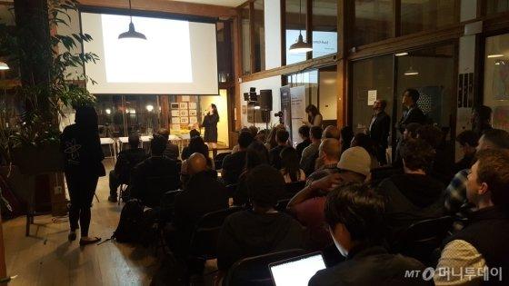 28일(현지시간) 미국 샌프란시스코에서 열린 '크립토 SF'에서 에리카 강 크립토서울 대표가 발표하고 있다./사진=김상희 기자