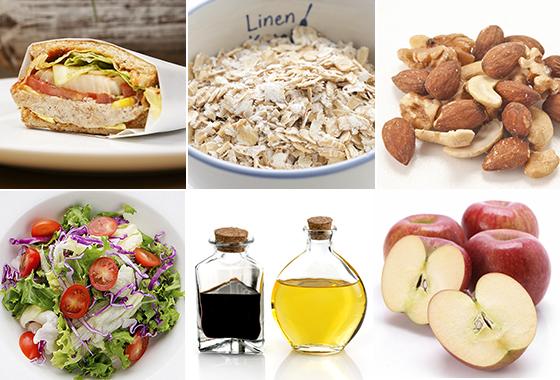 FMD 식단을 구성할 때 포함되는 음식들. 왼쪽부터 시계 방향으로 샌드위치, 오트밀, 견과류, 사과, 발사믹 식초·올리브 오일, 샐러드/사진=게티이미지뱅크