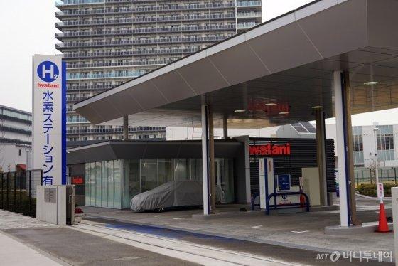 일본 도쿄 올림픽 선수촌에서 차량으로 15분 거리에 있는 수소충전소의 모습. 수소버스 충전도 가능하다. /사진=김남이 기자(도쿄)