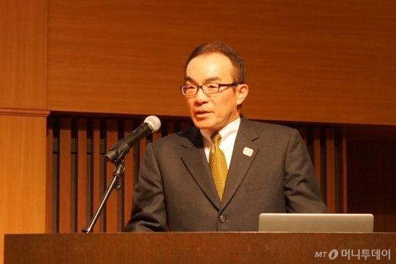 와가이 카츠오 도쿄도 환경국장이 지난 1일 도쿄에서 열린 '도쿄 수소의 날' 행사에서 인사말을 하고 있다. /사진=김남이 기자(도쿄)