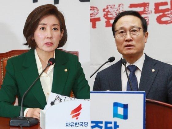홍영표 더불어민주당 원내대표(오른쪽)와 나경원 자유한국당 원내대표. / 사진=이동훈 기자