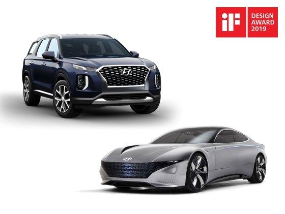 현대자동차그룹이 12일 독일 국제포럼디자인이 주관하는 '2019 iF 디자인상'에서 본상 7개를 수상했다. 현대차는 '르 필 루즈' 콘셉트와 '팰리세이드(위)'가 제품 디자인 부문 수송 분야 본상에 선정됐다./사진제공=현대차그룹