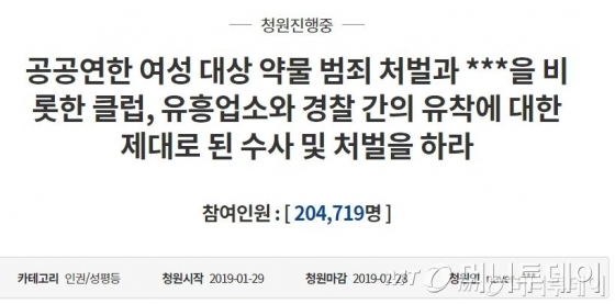 지난달 27일 오전 기준 '버닝썬' 관련 청와대 국민청원