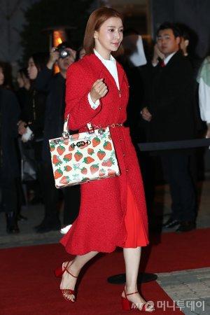 윤세아, 우아한 레드룩…딸기 패턴 토트백 '깜찍'