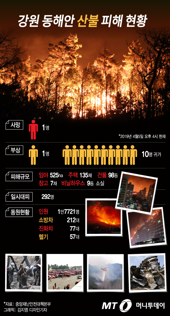 [그래픽뉴스]강원 동해안 산불 피해 현황(오후 4시 기준)